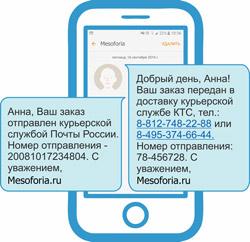 Смс об отправке курьерской службой Mesoforia.ru